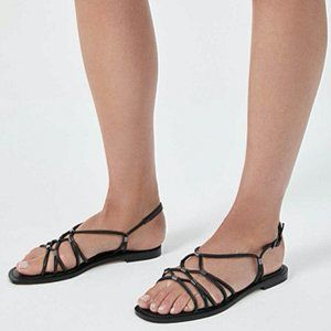 Witchery Black Woven Leather Sandals Shoes 39